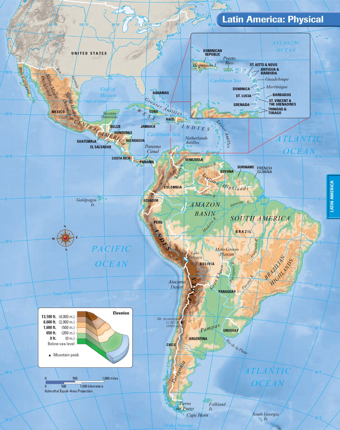 Coach Smith\'s World Geography Class: Latin America Physical Map