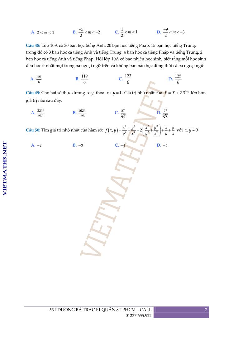 đề thi thử THPT quốc gia Toán 2017có lời giải chi tiết của Trần Công Diêu phần 7