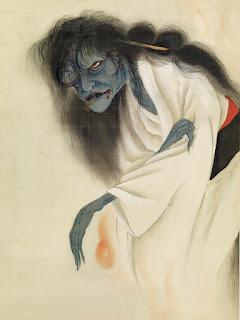 Peinture du fantôme d'Oiwa, signée Ikkyo, Mingei Arts Gallery