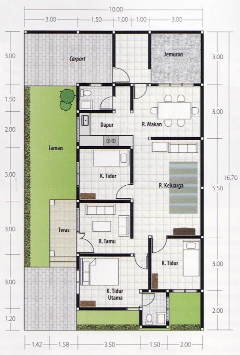 Denah Rumah Minimalis 3 Kamar Tidur Tanpa Garasi baru 14 denah rumah minimalis 1 lantai 3 kamar tidur tanpa