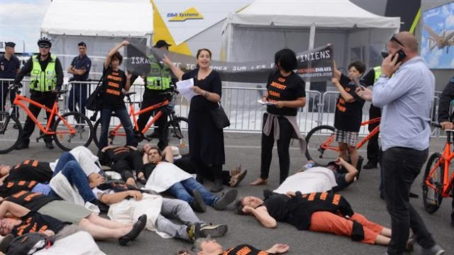 Activists protest Israeli arms firm's presence in Paris Airshow