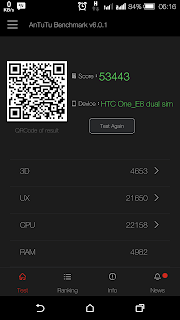 HTC One E8 - skor Antutu Benchmark