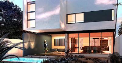 Casa Modelo en Privada Residencial Arborettos-Modelo Álamo fachada trasera de casas