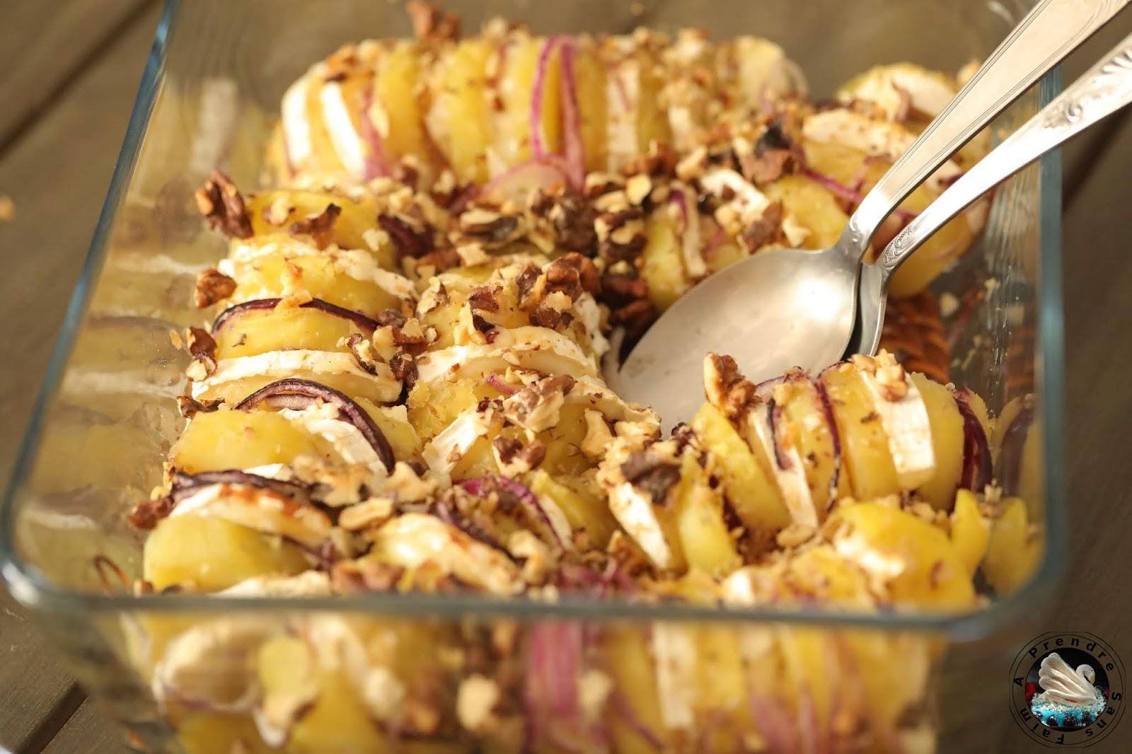 Pommes de terre suédoises oignon chèvre miel