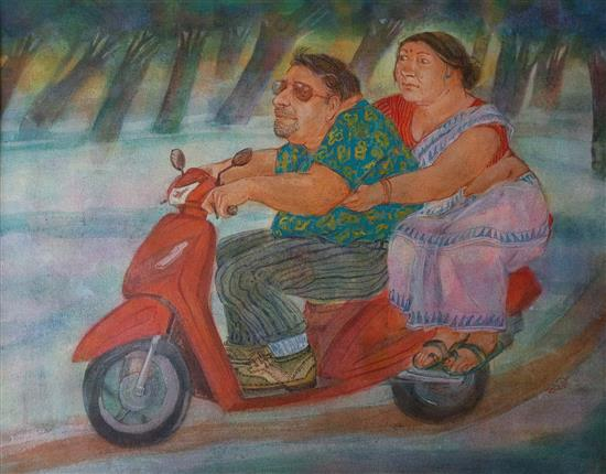 On the Way, painting by Kabari Banerjee (www.indiaart.com)
