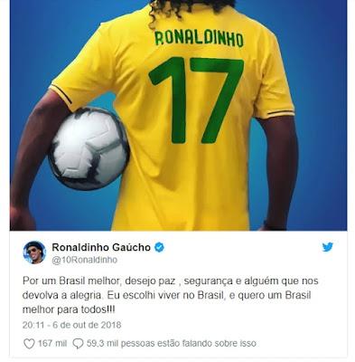 Ronaldinho Gaúcho perde status de embaixador do Barcelona por apoio a Bolsonaro