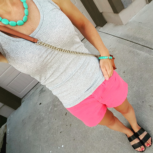 Gap Ribbed Tank Top - only $6 with code 4YOU (reg $17) // Old Navy Pixie Chino Shorts - on sale for $15 (reg $25) // Blowfish Supa Sandals - on sale for $30 (reg $50) // Rebecca Minkoff Love Crossbody Handbag (I found an awesome look-a-like bag for only $35! Target just added a new look-a-like bag too and it's only $30) // Chaps Necklace