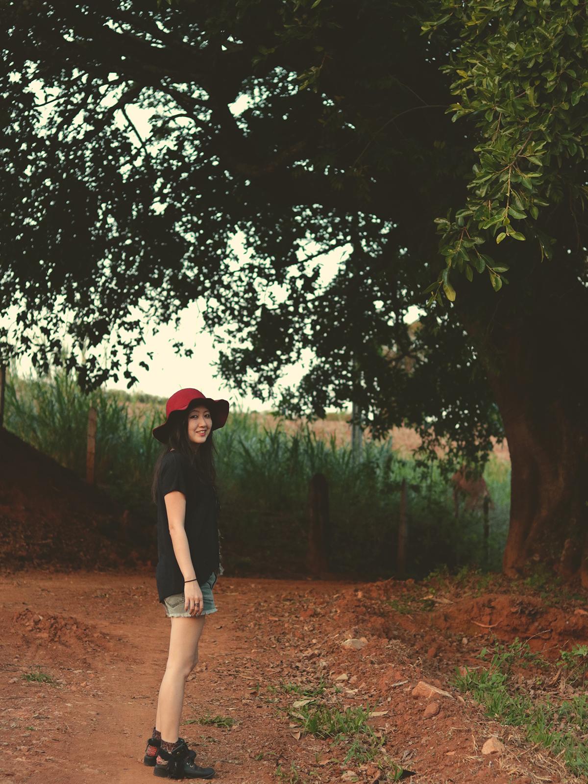 fotografando na floresta