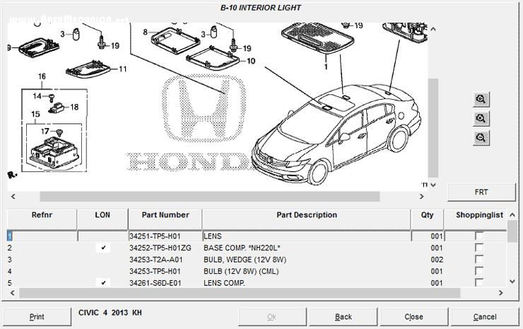 HONDA: Catálogo de Partes (2014-1982) Accord Civic CR-V