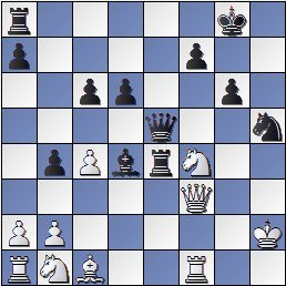 Posición después de 24.Df3 de la partida de ajedrez Farré vs. Gligoric, I Torneo Internacional de Ajedrez Costa del Sol 1961