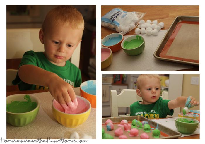 Toddler Activities: Baked Cotton Balls