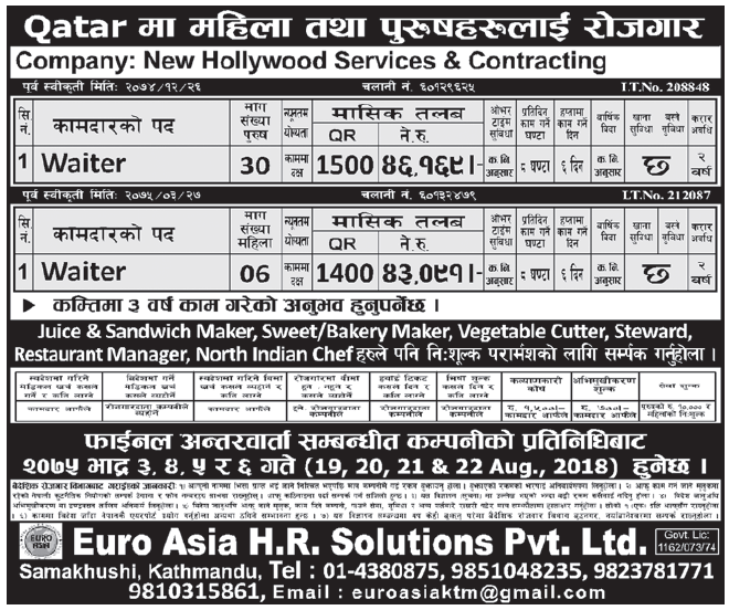 Jobs in Qatar for Nepali, Salary Rs 46,169