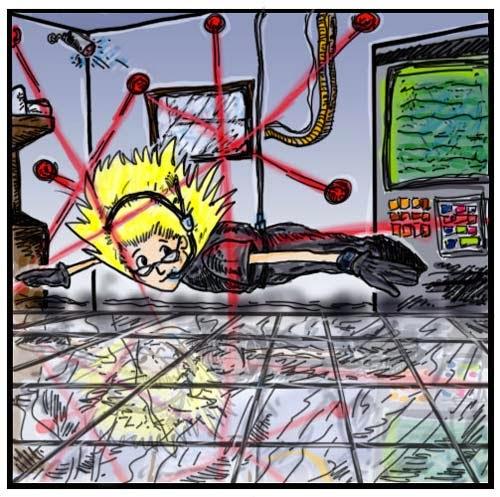 Desenho de um menino descendo em uma sala repleta de lasers, pendurado por um cabo, paralelo com o chão.