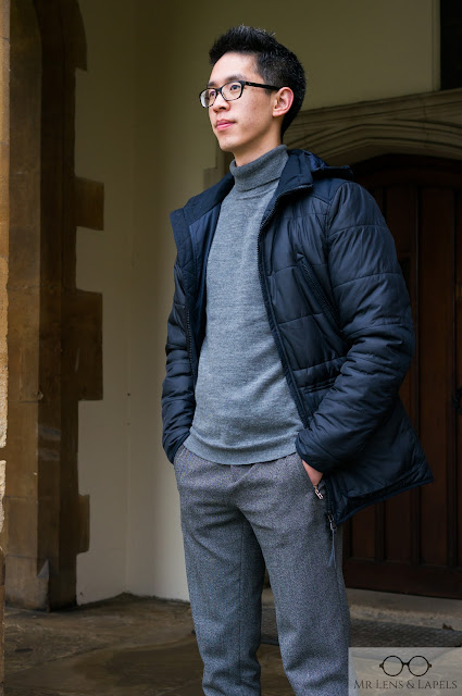 navy parka roll neck turtleneck jumper grey