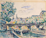 Bank of the Seine Near the Pont des Arts with a View of the Louvre by Paul Signac - Cityscape, Landscape drawings from Hermitage Museum