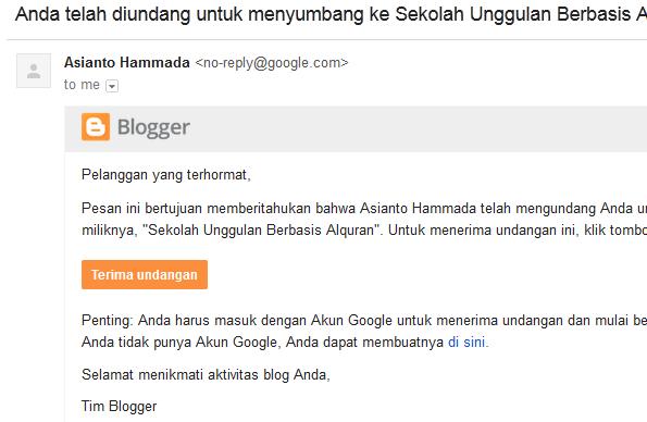 Cara Menambah User Di Blogspot