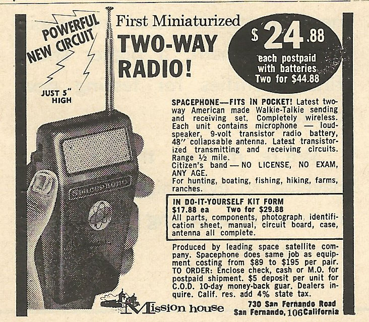 Old Ads Are Funny: 1962 ad: First Miniaturized Two-Way Radio!