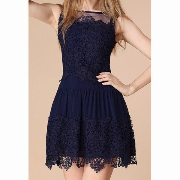 Round Neck Sleeveless Lace Dress