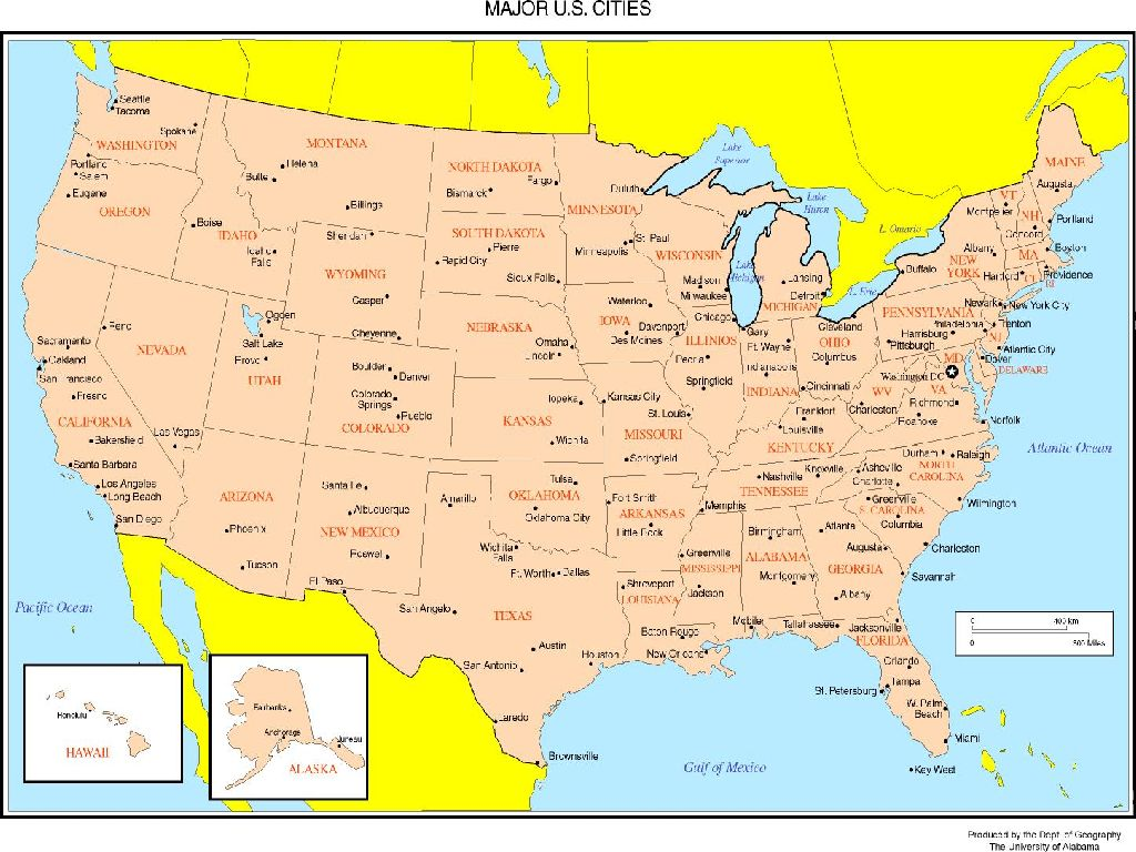 map of united states with capitals and major cities