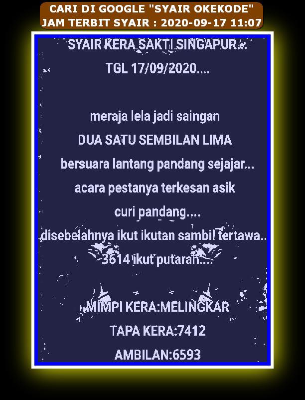 Kode syair Singapore Kamis 17 September 2020 102
