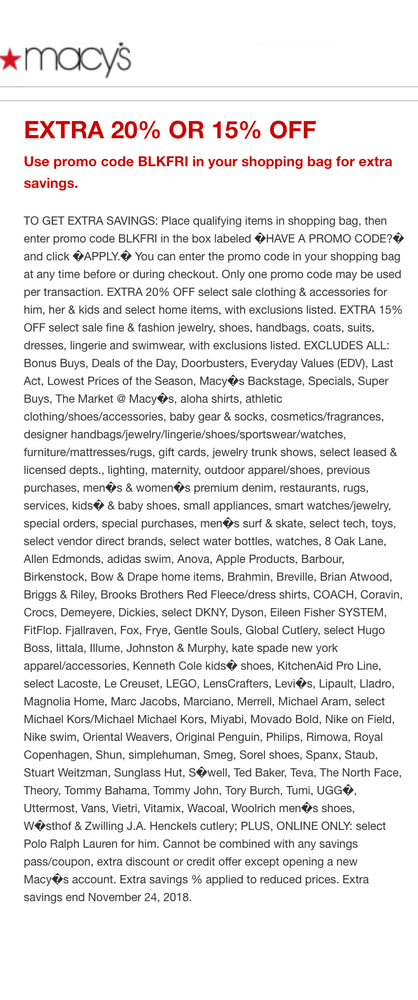 Macy's Black Friday/Cyber Monday Exclusions and Details