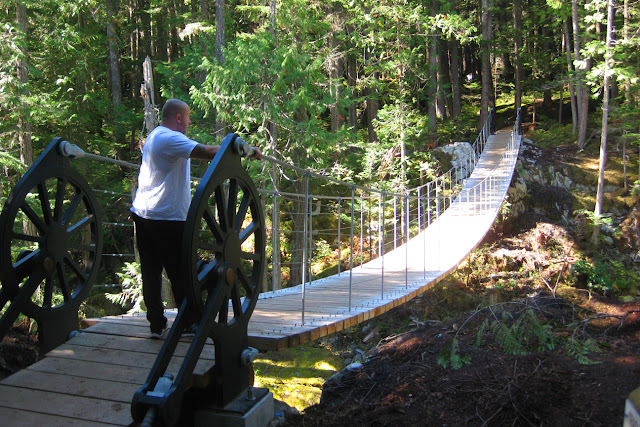 Suspension bridge leading to the Whistler Train Wreck, BC