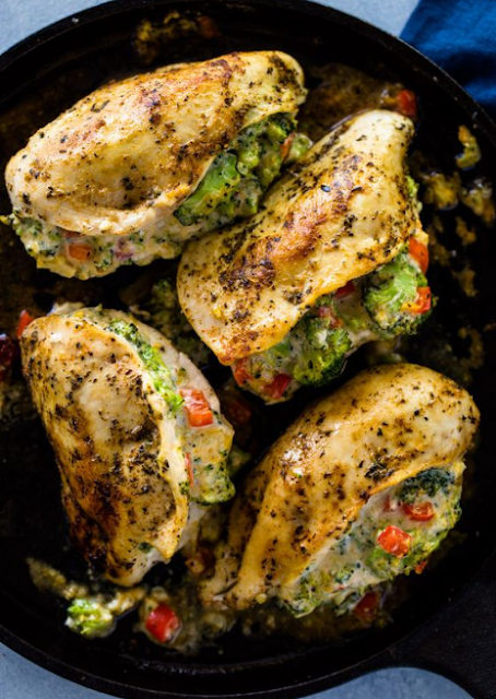 Cheesy Broccoli Stuffed Chicken Breasts