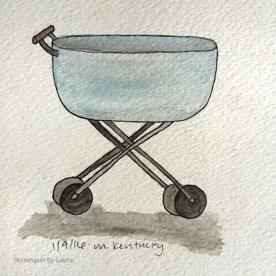 homespun by laura daily doodle baby carriage pram watercolor