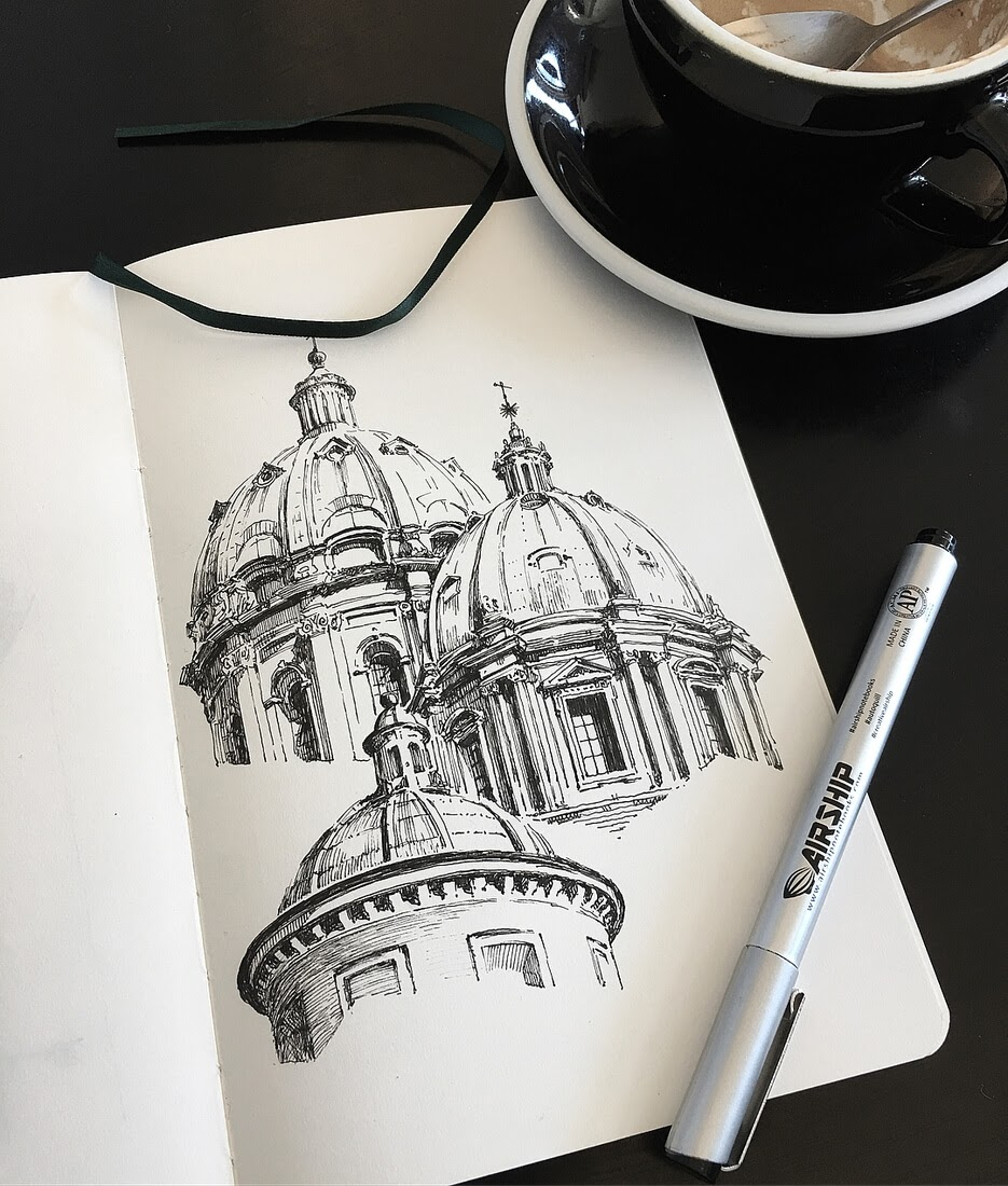 05-Roman-Domes-Mark-Poulier-Drawing-Urban-Architecture-on-a-Sketchbook-www-designstack-co