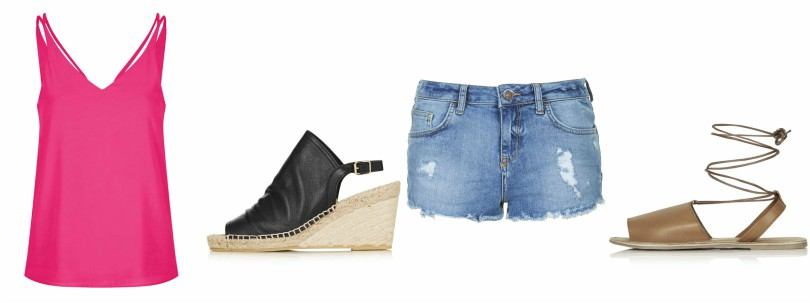 Double Strap V-Front Cami $15 (reg $30) Weekend Espadrille Wedge $24 (reg $85) Moto Vintage Daisy Shorts $24 (reg $45) Holly Ankle Tie Sandals $15 (reg $35)
