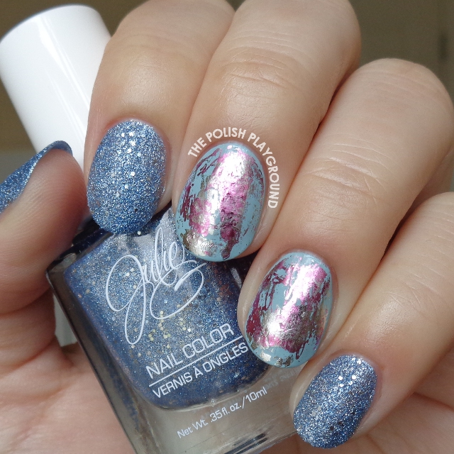 Blue Texture With Pink And Silver Nail Foil Art