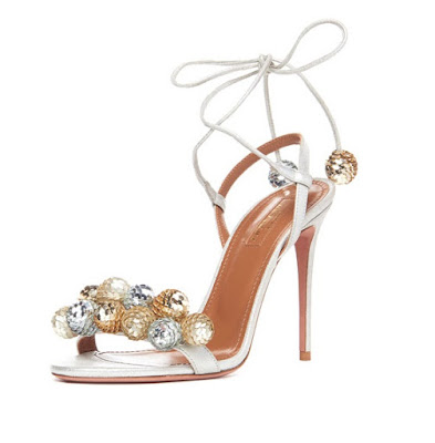 Aquazzura Disco Thing Sequin Embellished Sandal in Silver