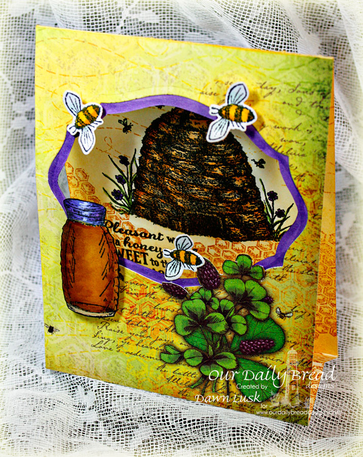 Stamps - Our Daily Bread Designs Sweeter Than Honey, Bee Happy, ODBD Custom Zinnia and Leaves Die, ODBD Elegant Oval Die, ODBD Blooming Garden Paper Collection, ODBD Honeycomb Mini Background