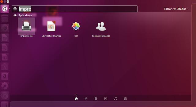 """Opção """"Impressoras"""" no Ubuntu"""