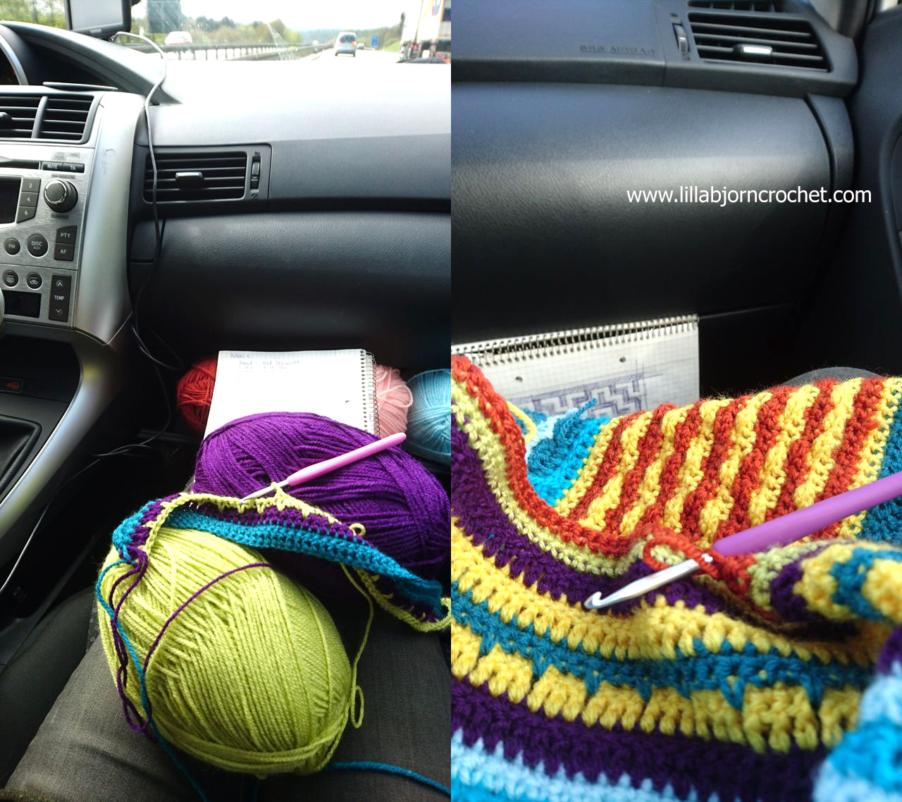 Extreme crochet in traffic jams: birth of a new blanket design ...