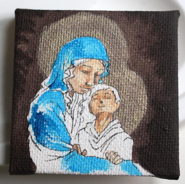 WIP peinture vierge à l'enfant miniature - Marie