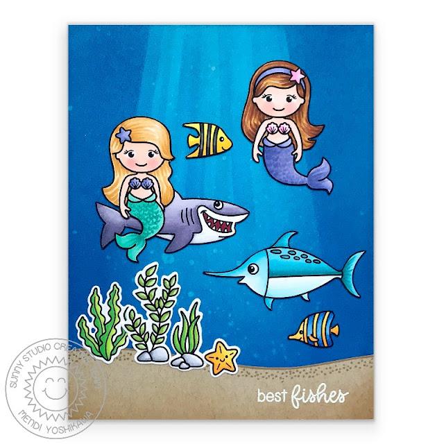 Sunny Studio Stamps: Best Fishes & Magical Mermaids with Shark & Swordfish card by Mendi Yoshikawa