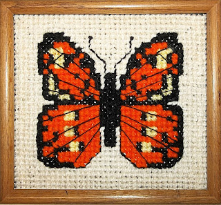 Gros-point butterfly with tent stitch background