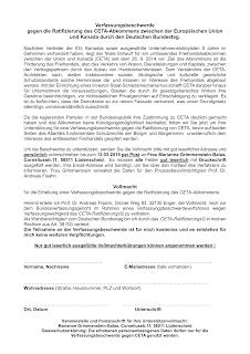 Verfassungsbeschwerde  gegen die Ratifizierung des CETA-Abkommens zwischen der Europäischen Union und Kanada durch den Deutschen Bundestag