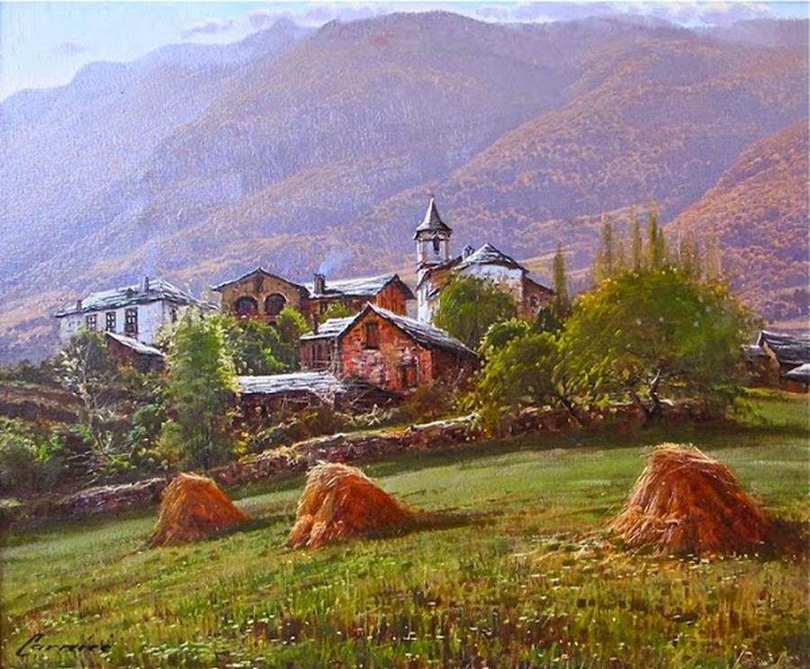 Im genes arte pinturas paisajes rurales espa oles cuadros - Paisajes de casas de campo ...