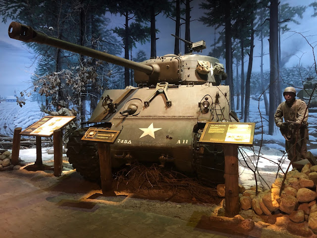 Fighting at the Battle of the Bulge scene including a tank in the First Division Museum of Cantigny Park
