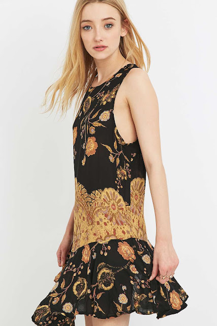 free people black floral dress,