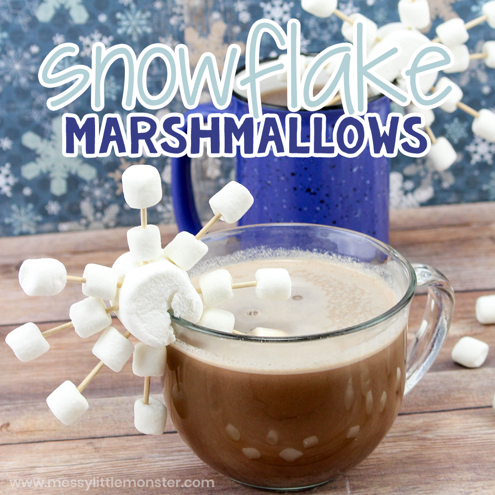 Snowflake Marshmallows. Winter STEM activity for kids.