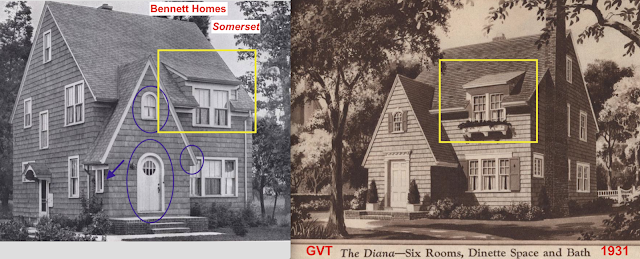 comparison of pop-up front dormer look catalog images Bennett Homes Somerset next to GVT Diana