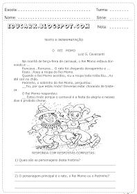 Interpretação de texto sobre o carnaval atividade 1