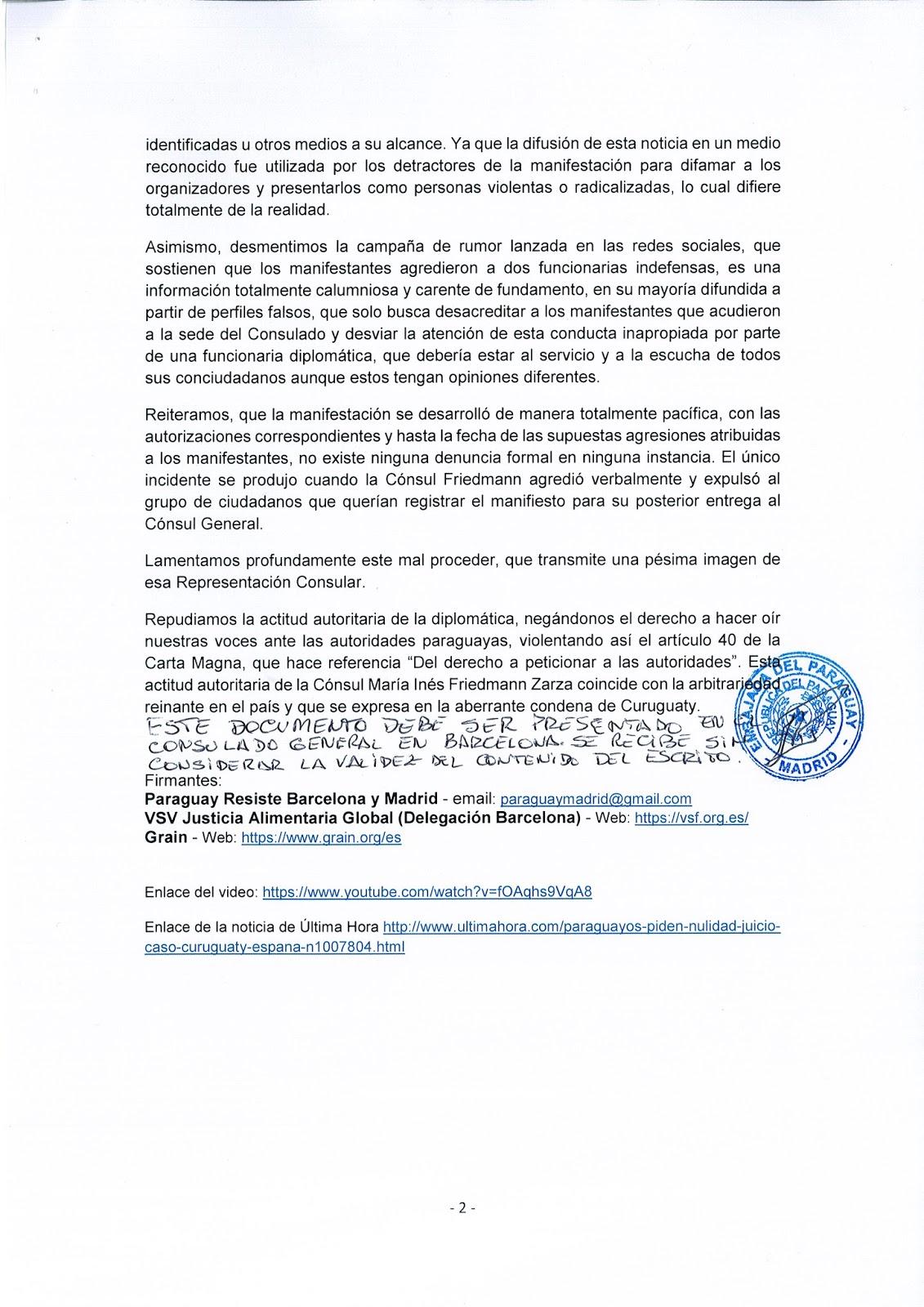 ACLARACIÓN REFERENTE A LO OCURRIDO EN EL CONSULADO GENERAL DE LA REPÚBLICA  DEL PARAGUAY EN LA CIUDAD DE BARCELONA 1d916ee78da