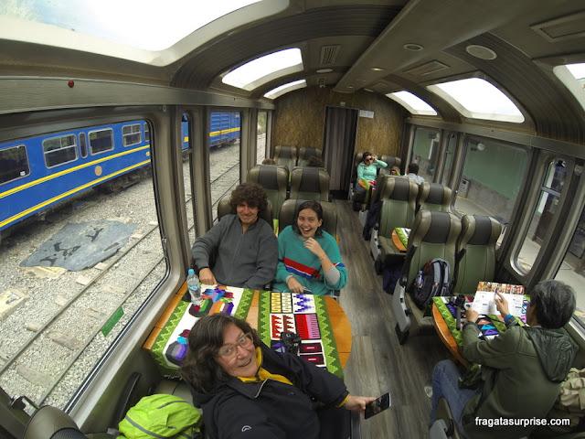 Trem para Machu Picchu - interior do Vistadome
