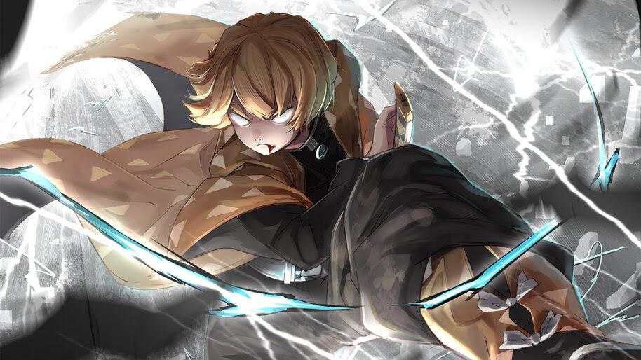 Zenitsu, Breath of Thunder, Kimetsu no Yaiba, 4K, #3.1404