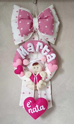 fiocco nascita bambina cuori rosa