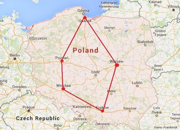 Poland travel route map: Wroclaw, Krakow, Warsaw, Gdansk, Poznan